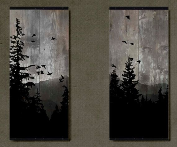 Mountain View - Set of 2 Paintings on Reclaimed Barn Wood on Etsy, $600.00