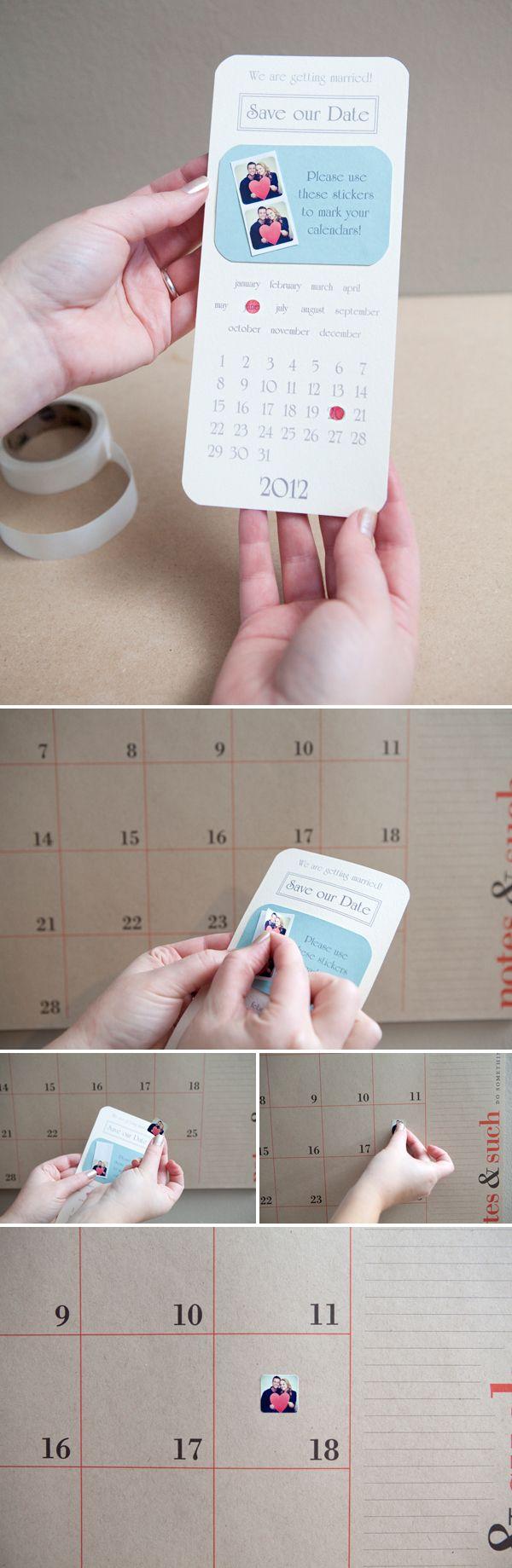 Save the Date stickers! what a cute idea!
