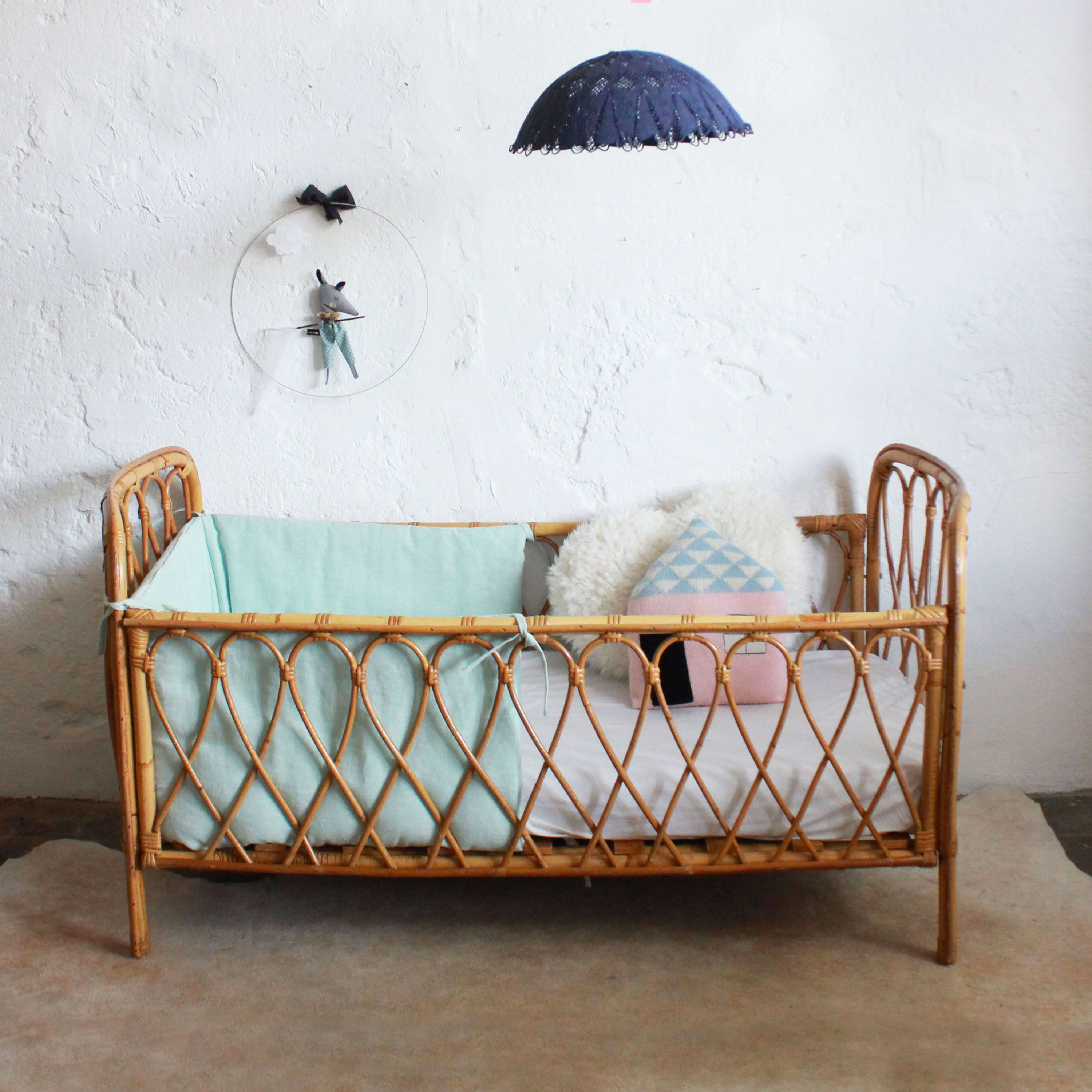 Kids Bed Accessories Lit Bébé Rotin Vintage E378 In 2019 Moodboard