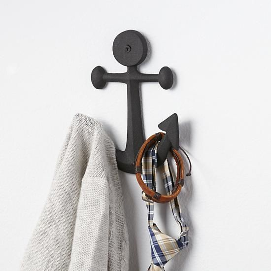 Nautical Anchor Wall Hook The Land Of Nod This Nautical Hook Anchors The Look Of Any Bedroom Bathroom Or Mudroo Wall Hooks Nautical Room Anchor Wall Hooks