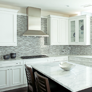 Anthony Tahlier Photography Kitchens Blue Brown Gray Glass Mosaic White Tile Kitchen Backsplash Backsplash For White Cabinets Glass Backsplash Kitchen