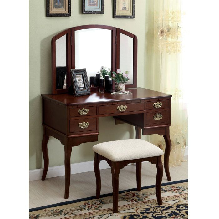 Vanity Table Delores Solid Wood Set At Brookstone Now