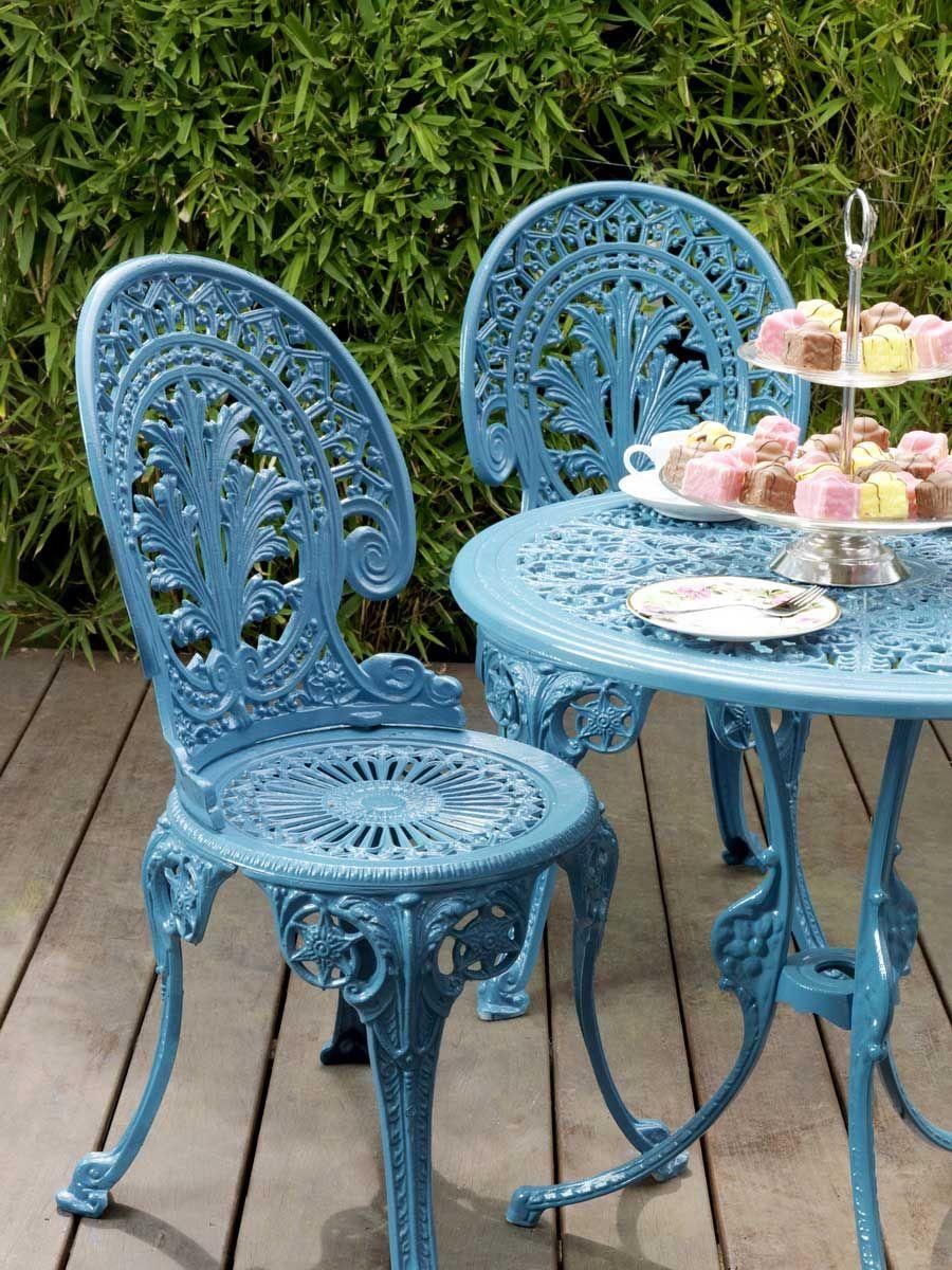 Powder Blue Metal Outdoor Bistro Set Cast Iron Garden Furniture