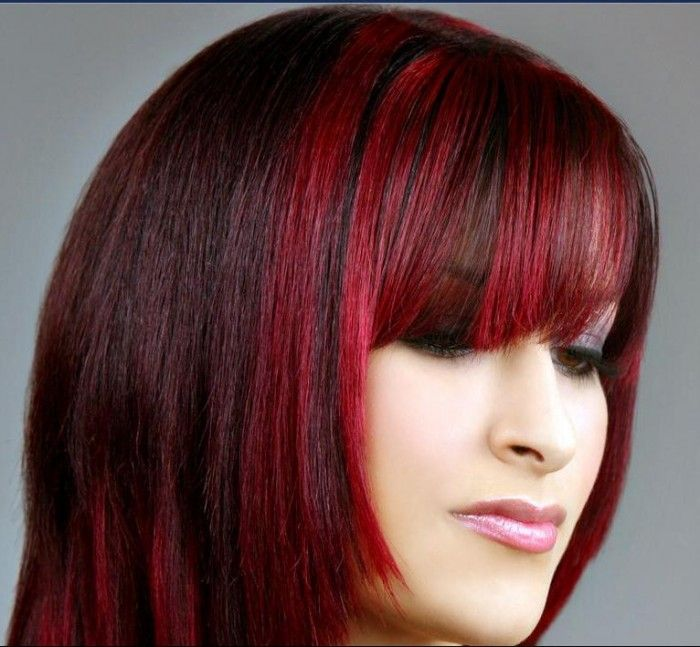 Bright Red Highlights In Dark Brown Hair Hair Pinterest