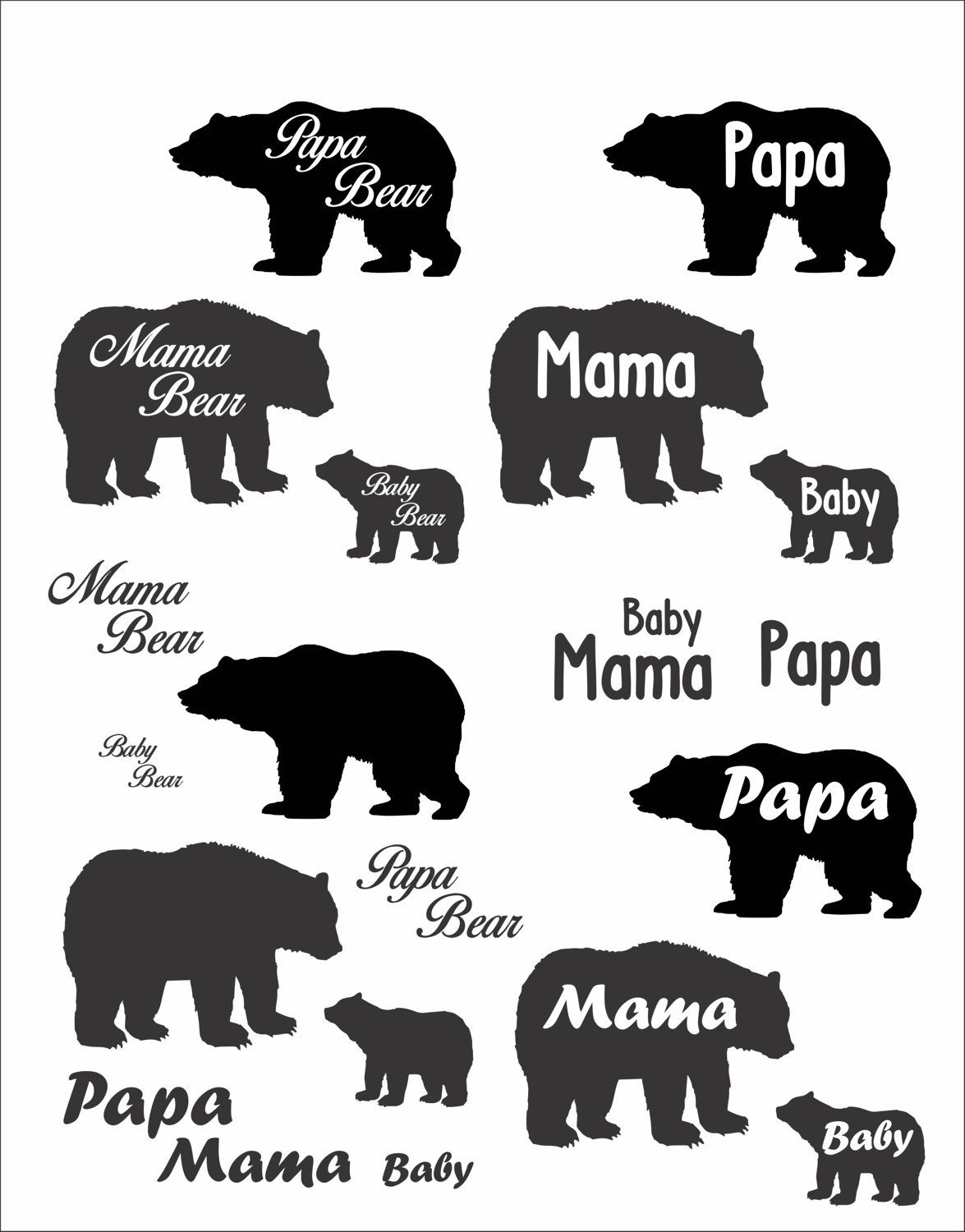 Cute Papa Mama And Baby Bear File Download Svg Eps Png