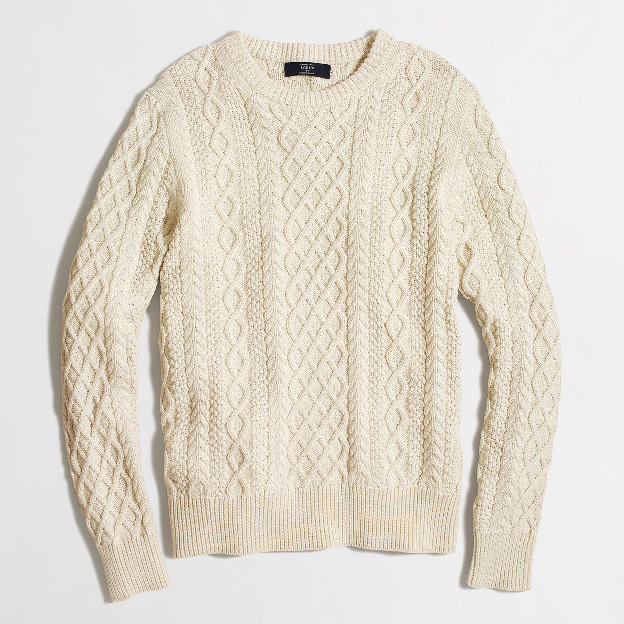 Fisherman cable crewneck sweater : Cotton | J.Crew Factory ...