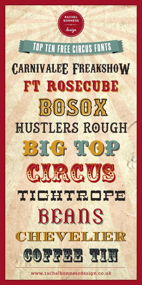 Top Ten Free Circus Style Fonts RachelBonnessDesign ~~ {10 free