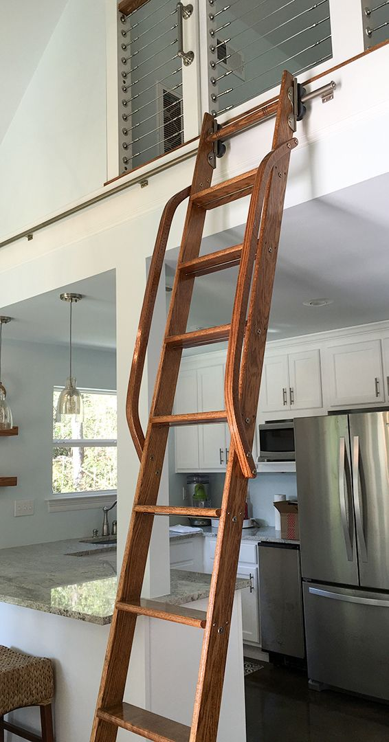 Look At This Amazing Rolling Ladder Installation At A Customer S Pool House Thanks For The Beautiful Picture T Library Ladder Home Library Design Loft Ladder