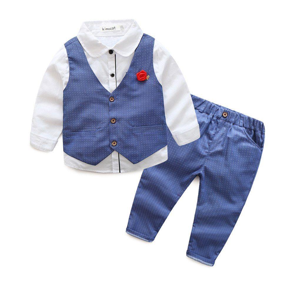 3pcs Infant Baby Boys Gentleman Suit Long Sleeve Shirt+Vest+Pants Set