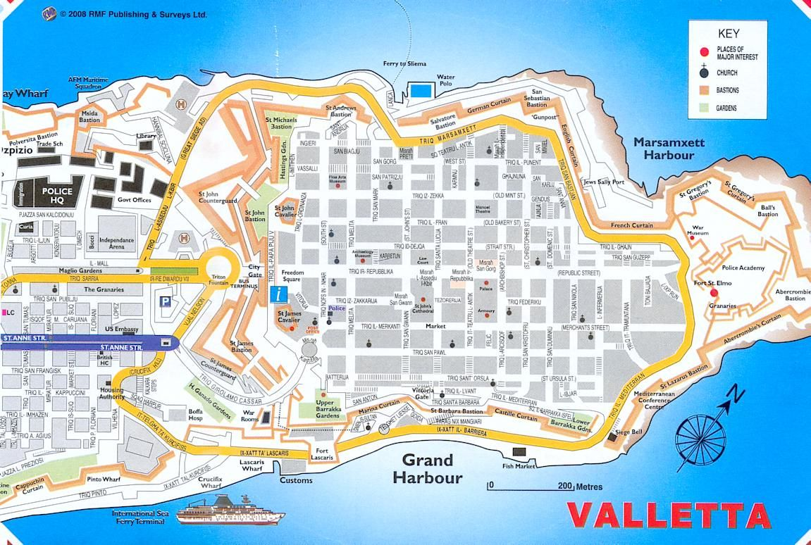 Valletta the old walled part of the city Capital city of Malta