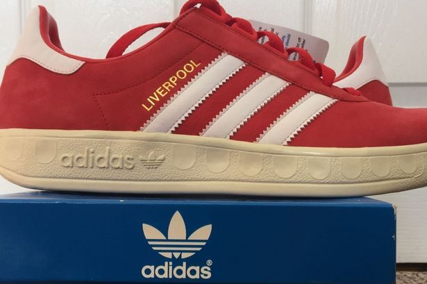 A rare pair of Liverpool themed Adidas Trimm Trabs are on eBay for £550