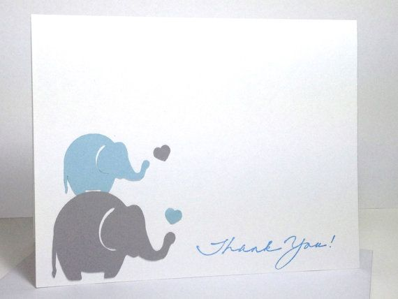 Elephant Baby Shower Handmade Thank You Card by DesigningMoments ...