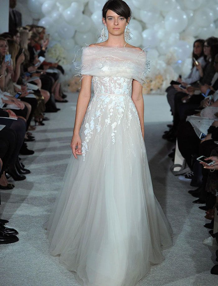 Trendy Your spring wedding dress trends are here From feathered ball gowns to D floral