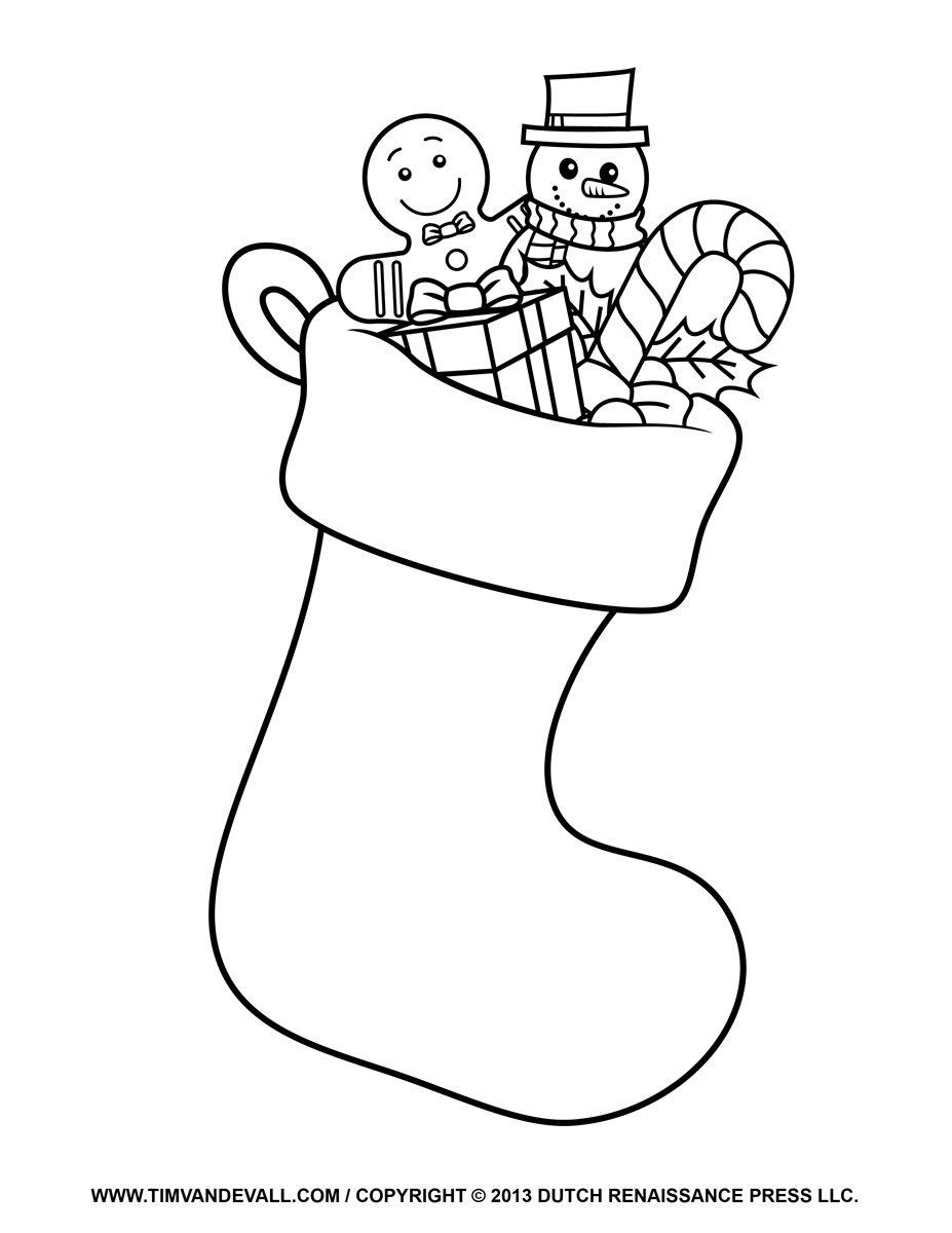 Stocking Coloring Page Printable Christmas coloring