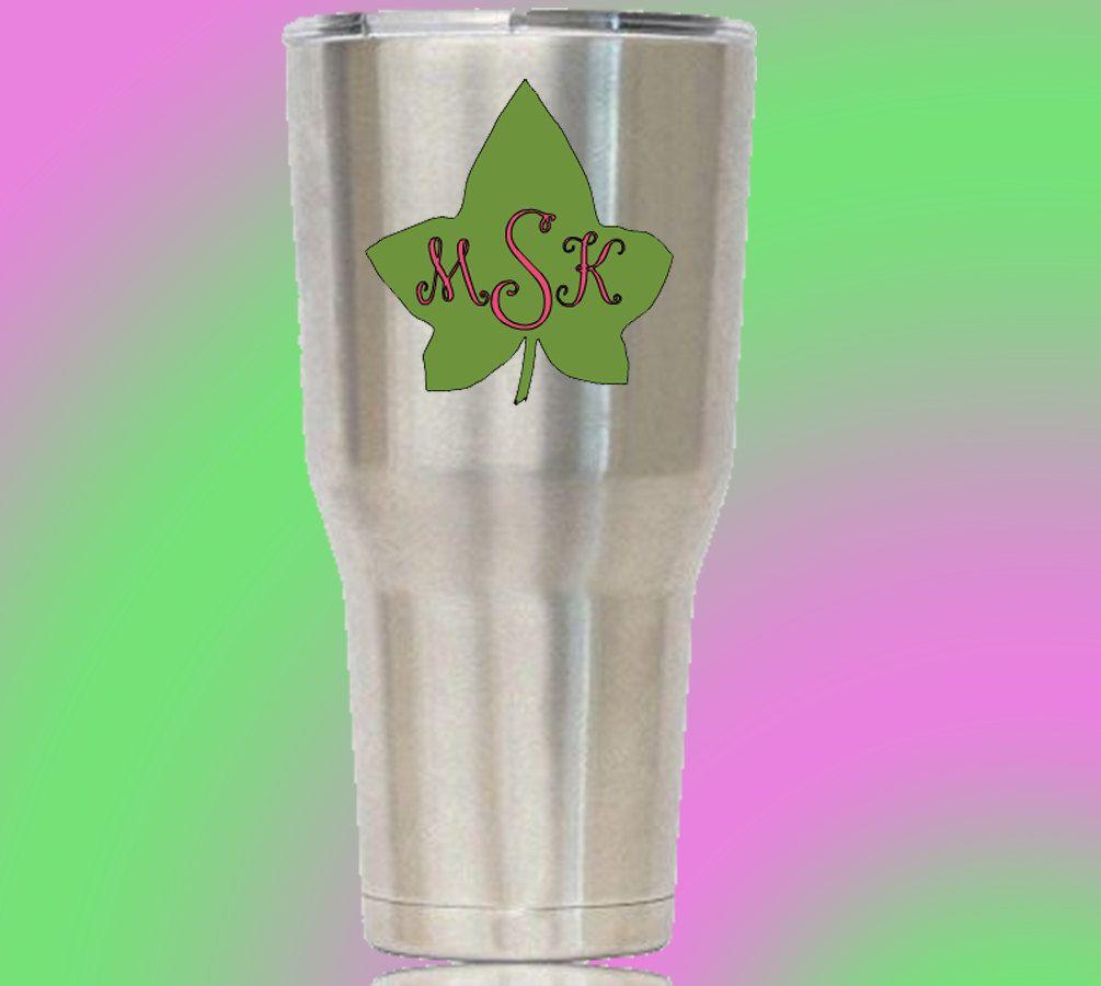 Alpha Kappa Alpha AKA Green and Pink Monogrammed Ivy by YellowSundays on Etsy