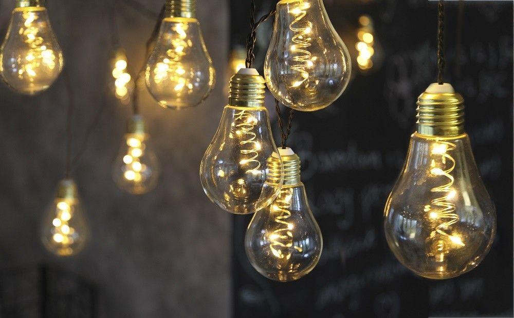 Led Lichterkette Gluhbirne Aus Glas Retro Design 10 Tlg Warm Weiss