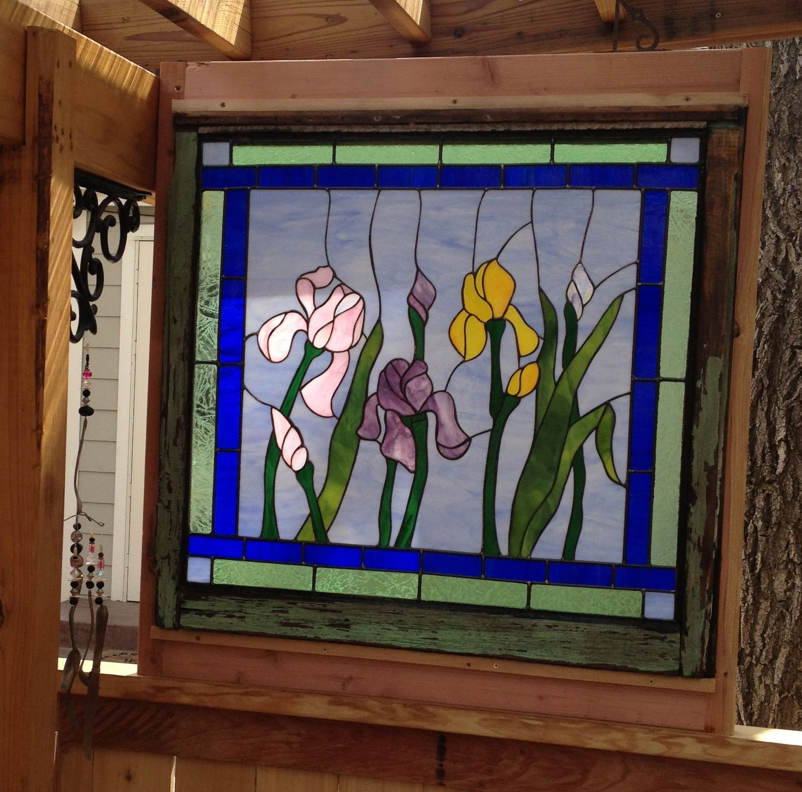 Iris Stained Glass I Made In A Antique Window Frame