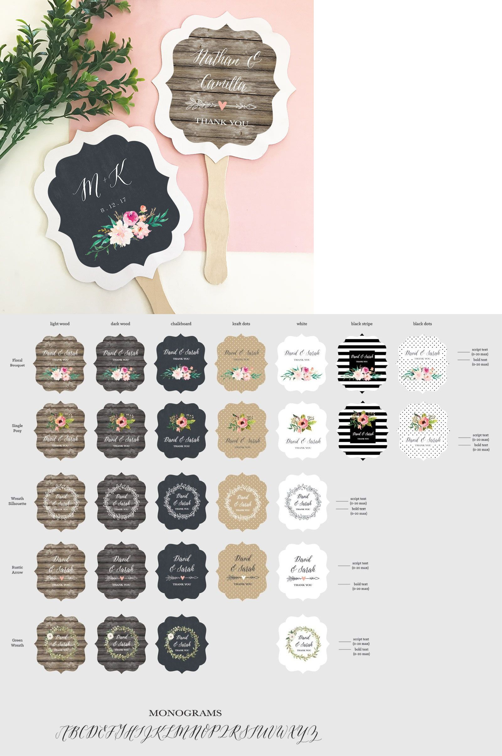 Wedding Favors 33156: 75 Personalized Paddle Fans Rustic Floral ...