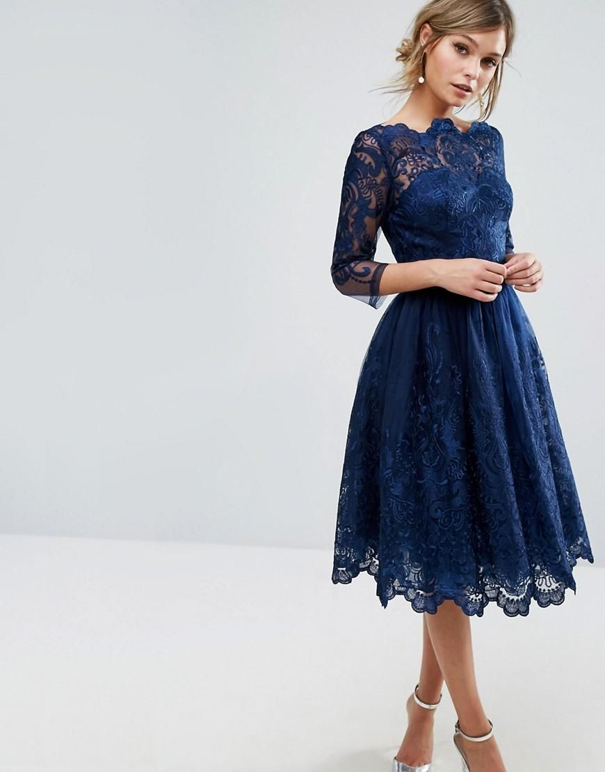 ASOS - Chi Chi London Chi Chi London Premium Lace Midi Dress With 3 ...