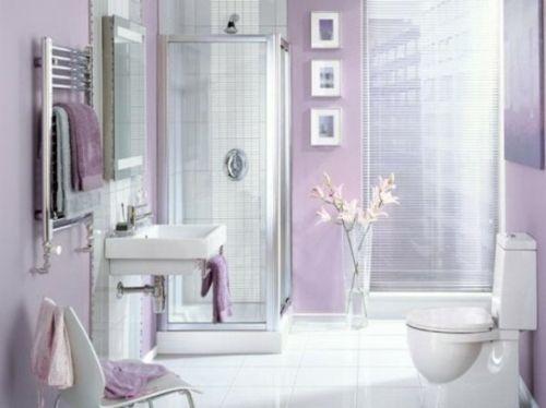Bunte Bäder badezimmer möbel helle lila wandfarbe ideas for the house