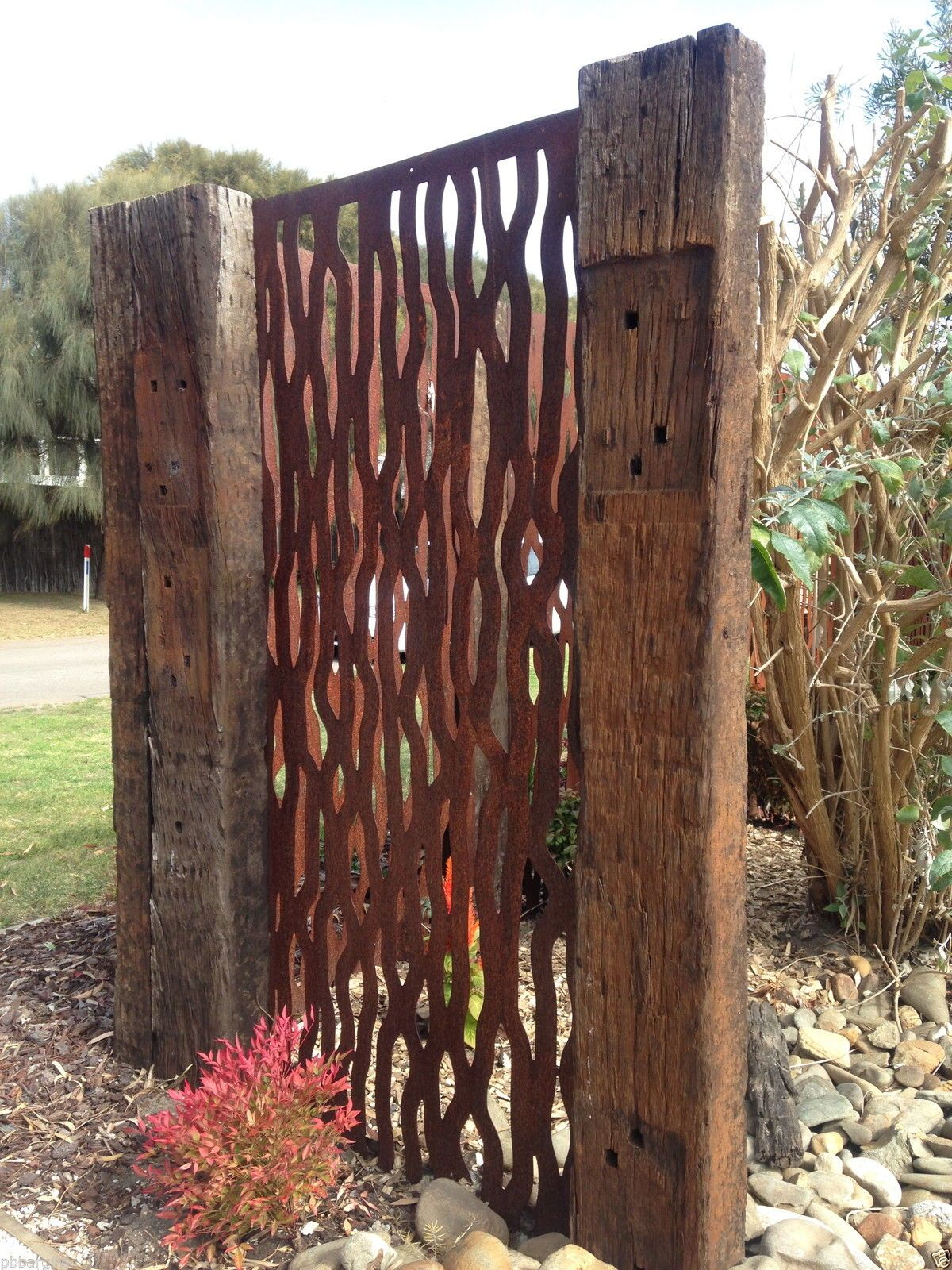 Metal laser cut rust Tree Bark feature wall panel privacy screen in ...