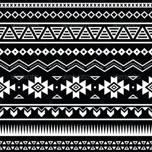 Buy Aztec Seamless Pattern Tribal Black And White By RedKoala On GraphicRiver Vector Ornament Etnic FEATURES Shapes All