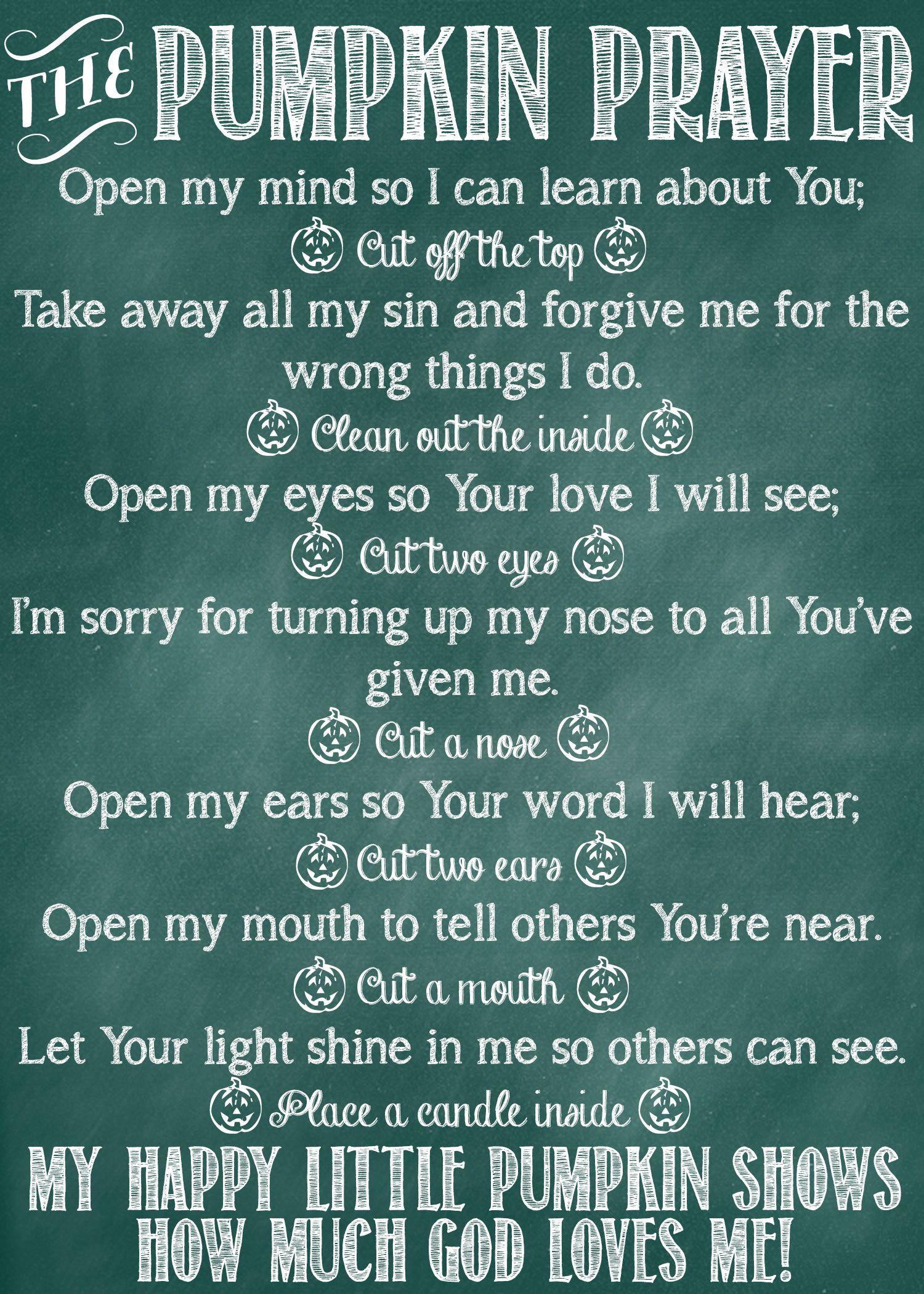 The Pumpkin Prayer Poem and Printables | Pinterest | Free poems ...
