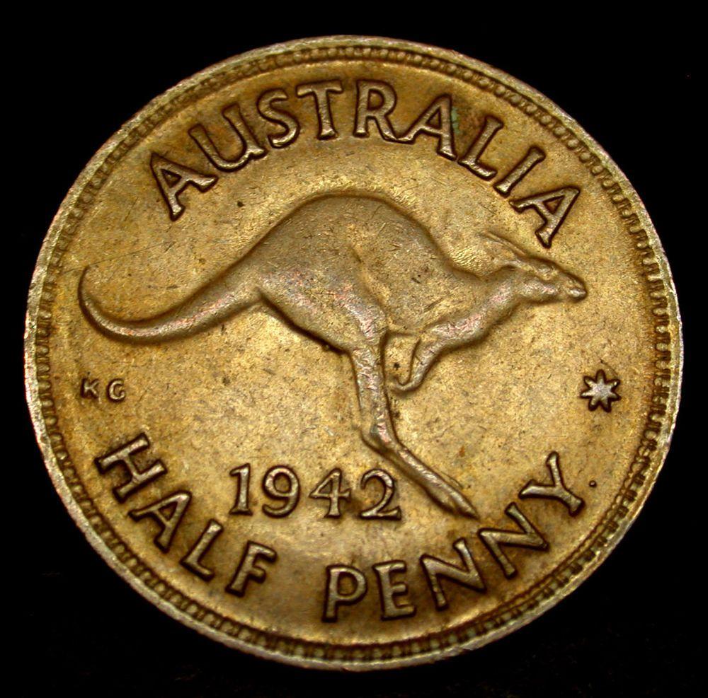 1942 australia half penny amazing kangaroo coin rare