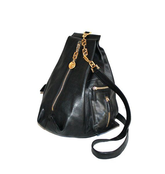 0cd9aff15c GIANNI VERSACE COUTURE Vintage Backpack Tote Black Leather Pyramid Medusa  Sling - Authentic -