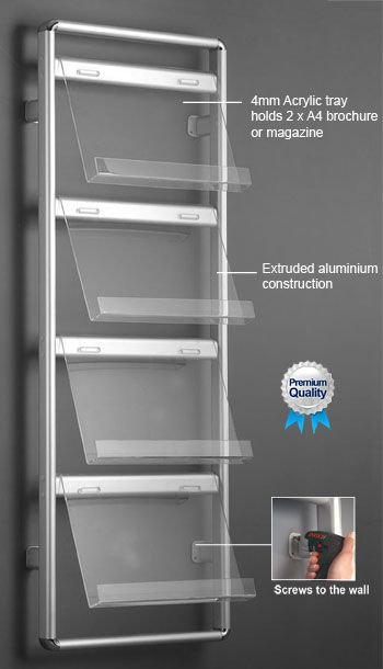 Exhibition Literature Stand : Brochure & magazine wall rack. 4 tier literature stand {libraries
