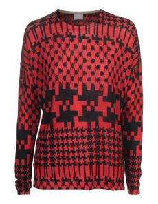 Funky Red: Strick-Pullover im Muster-Mix