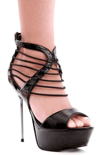 Sexy High Heels / Metallic Sexy Stiletto Heel Platform Strappy Sandal in Black PU |Black Heels|