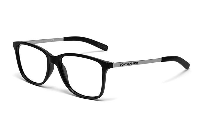 mens gummed black metal and rubber eyeglasses with squared frame and dolce gabbana logo on the temples visit dg eyewear website for more details