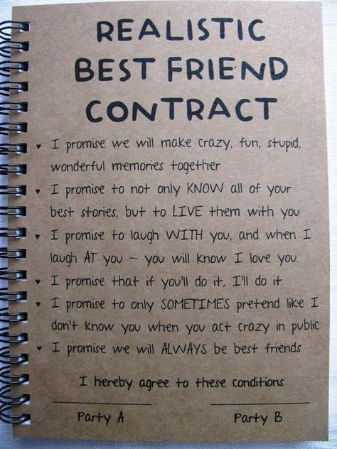 REALISTIC Best Friend Contract **PLEASE NOTE** Allow 1-3 business days for production before shipping. SIZE: 5 x 7 inches CARDSTOCK COVER WEIGHT: 80 C (similar to a paperback book cover) COVER COLORS AVAILABLE: Kraft Brown, Stardust White, Bright Pink, Red, Bright Orange, Bright