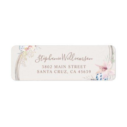Romantic Floral and Gold Watercolor Wedding Label - script gifts
