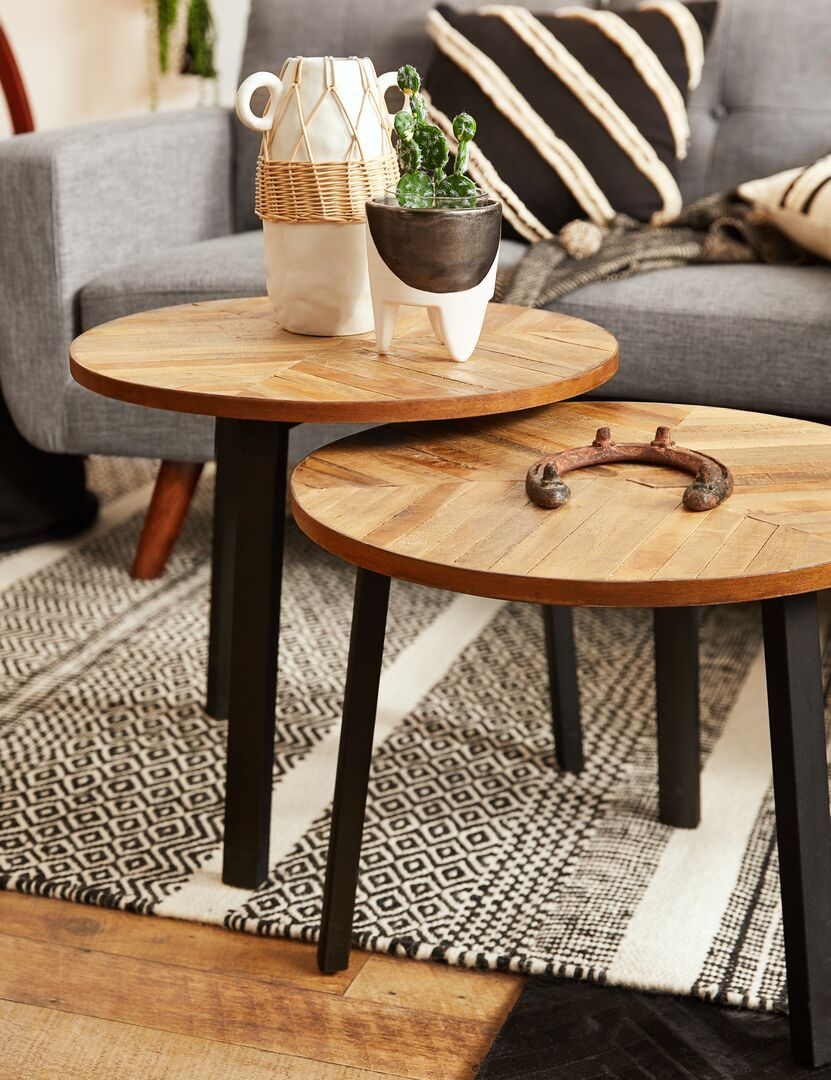 Zak Natural Set Of 3 Recycled Teak Wood Nesting Tables S In 2019