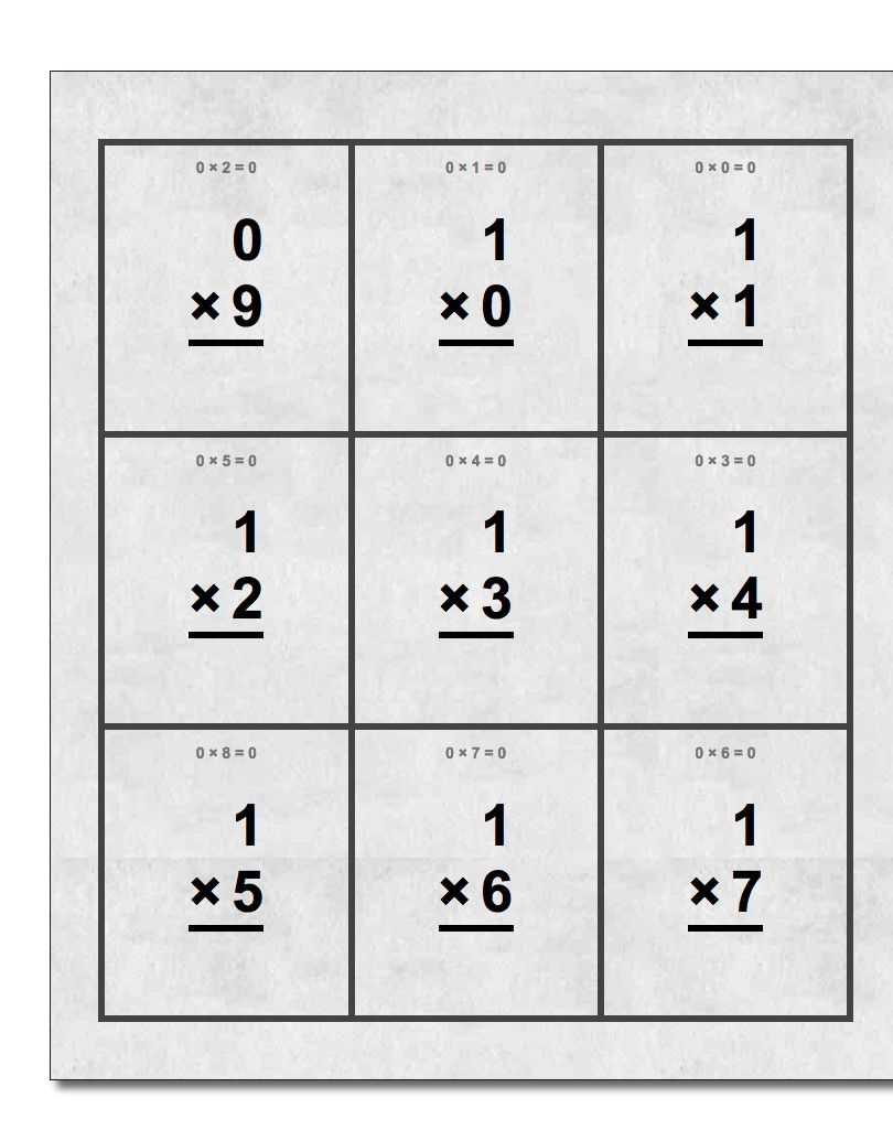 Free Printable Flash Cards For Multiplication Math Facts This Set Includes Single Digit Math Worksheets 1st Grade Math Worksheets First Grade Math Worksheets