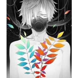 Black And White Anime Boy With Black Gas Mask And Rainbow Leaves Anime Anime Images Anime Art