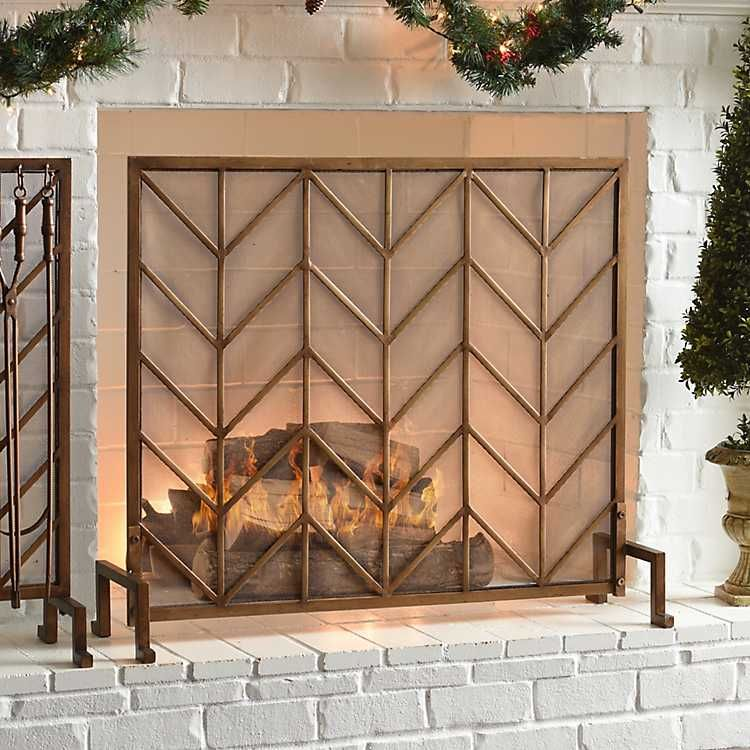 Bronze arrow fireplace screen modern fireplace screen