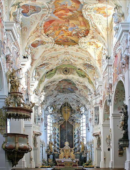 baroque architecture inside reichenbach abbey in bavaria