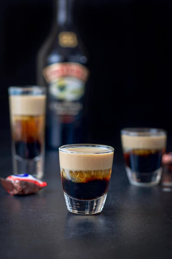 Baileys layered in the snickers shot