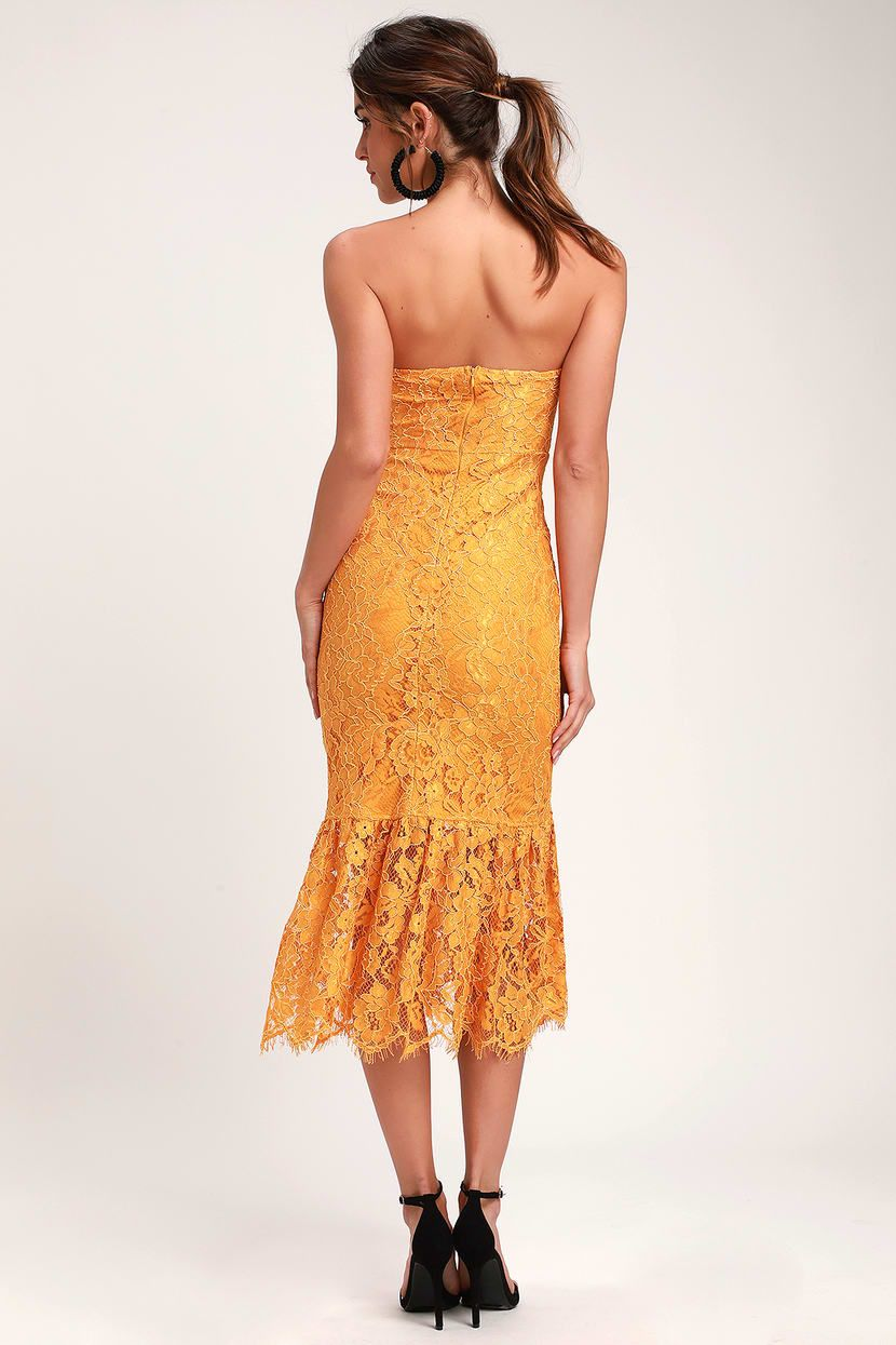 Divine Nights Golden Yellow Lace Strapless Midi Dress Strapless Midi Dress Lace Strapless Yellow Lace [ 1245 x 830 Pixel ]