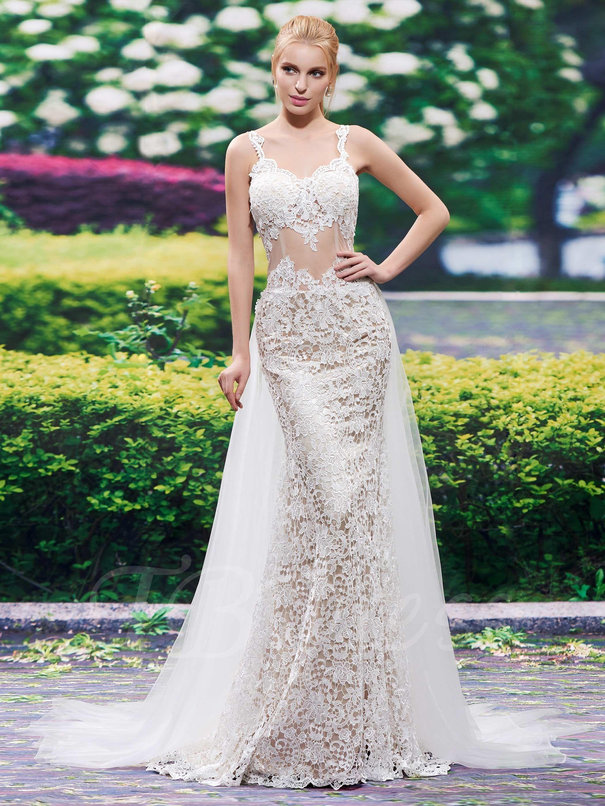 Spaghetti Straps Lace Backless Mermaid Wedding Dress ...