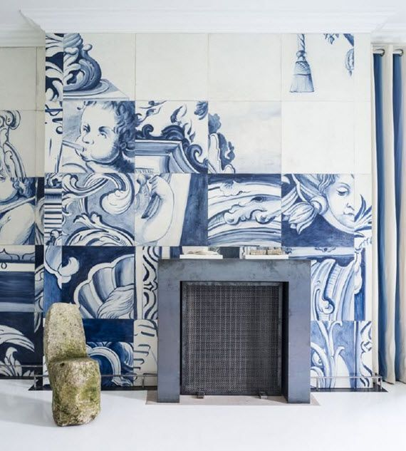 blue and white Portuguese tiles :: master bedroom with fireplace :: Antonio Martins :: San Francisco Decorator Showcase 2014
