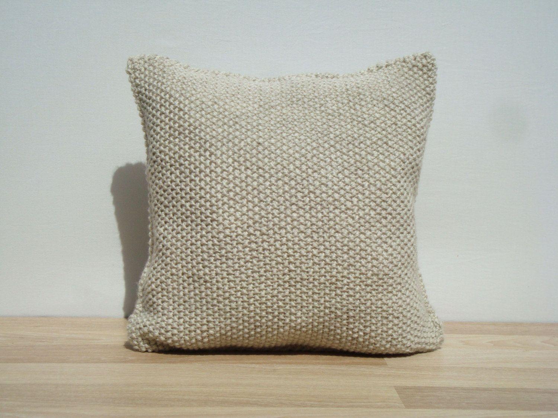 Knitting Pillow Light Beige Pillow Home Decor by GreenCatStudio