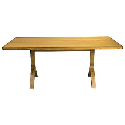 The Hudson Dining Table By Saloom Has A Transitional Style With Its Solid Maple Hardwood Top And Distinct Upside Down Y Legs Its H Dining Table Table Dining