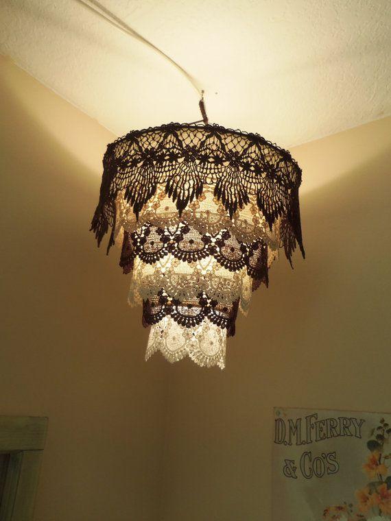 Venise Lace Faux Chandelier Pendant Lamp Shade By Cokiethebaby Lampenschirm Streichen Diy Lampenschirm Alte Lampenschirme