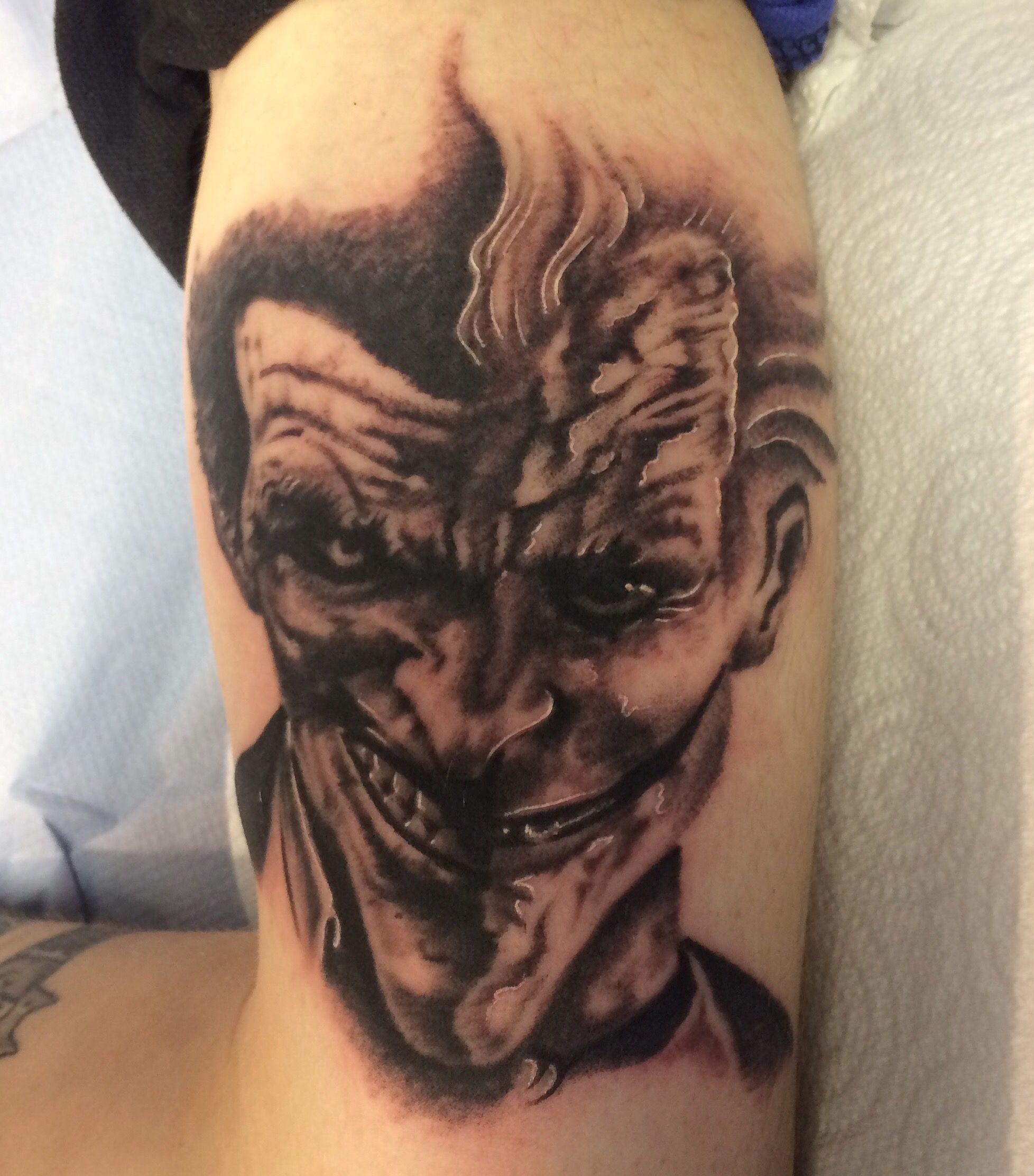 2539f8e46 Joker realism tattoo done by Travis Allen at twisted tattoo Yaxley Www.  twistedtattoo.co