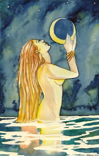 Fairy Tail Nude Beach Shot - The moon and the sea...never separated... | Moon art, Goddess art, Water art
