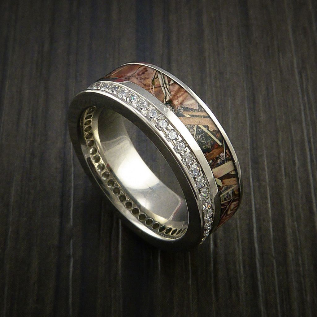 14k White Gold Ring with Camo Inlay and Eternity Set